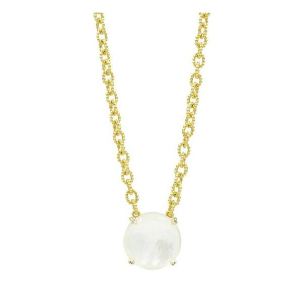 Yellow Gold Plated Link Chain with Full Moon Mother of Pearl Pendant
