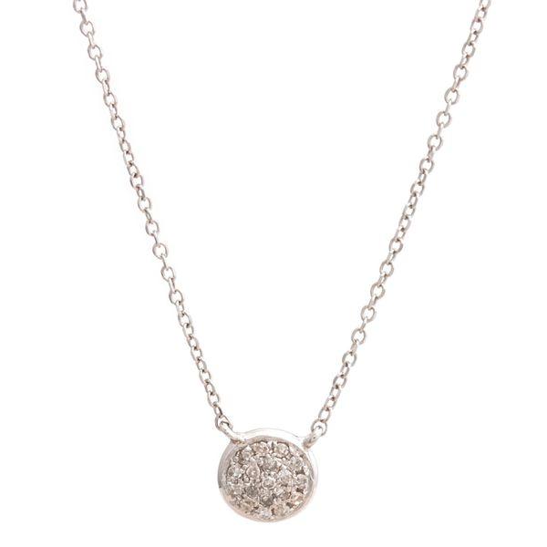 14 kt White Gold Circle Single Pave Diamond Necklace