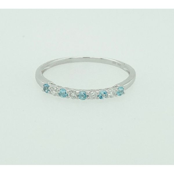 14 kt White Gold Aquamarine and Diamond Stackable Band