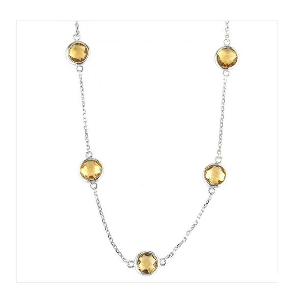 Sterling Silver Round Bezel Citrine Necklace