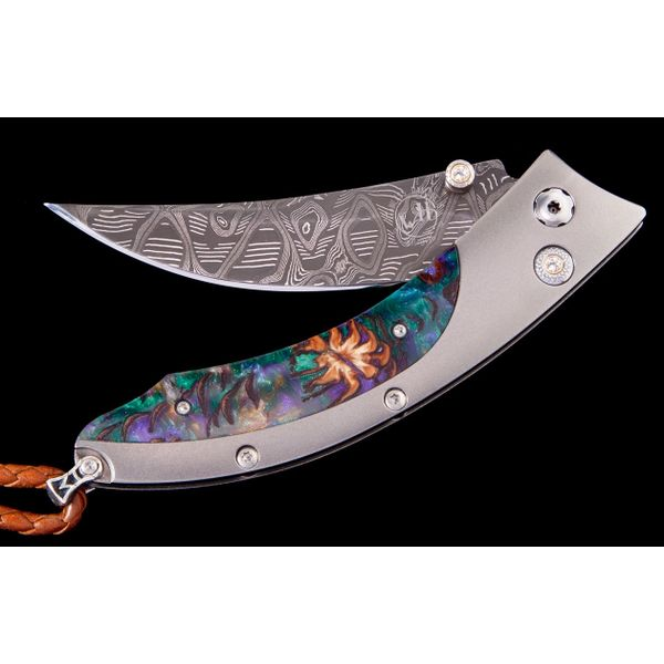 Willim Henry pocket knife with acrylic resin inlay in handle