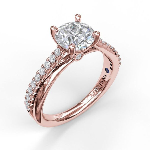 Rose Gold Round Cut Solitaire With Criss Cross Band