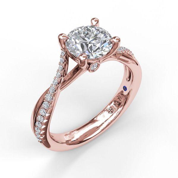 Rose Gold Alternating Diamond Twist Engagement Ring