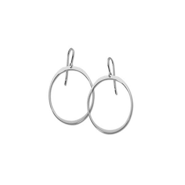 14 kt White Gold Large Oval Dangle Hoops