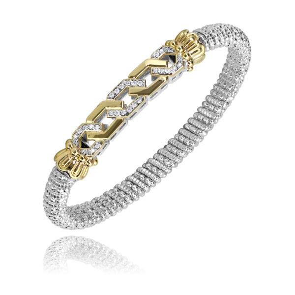 Sterling silver and 14 kt yellow gold with diamonds 6 mm Vahan bracelet
