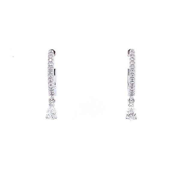 14 kt Diamond Hoop earrings with Pear Drop Diamond
