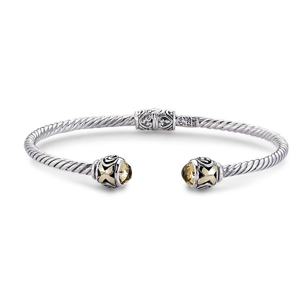 Sterling Silver and 18 kt Yellow Gold Citrine Bangle Bracelet