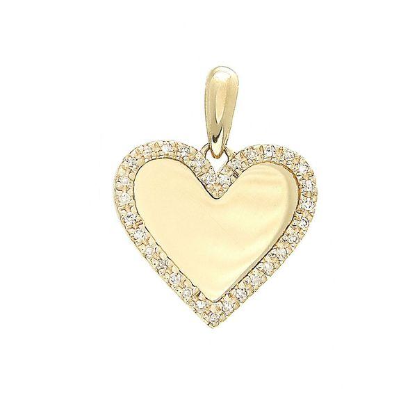 14 kt Yellow Gold Heart Single Pave Diamond Pendant
