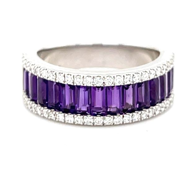 14 kt White Gold Amethyst and Diamond Band