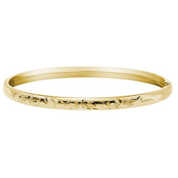 Gold Filled Slim Floral Engraved Bangle Bracelet
