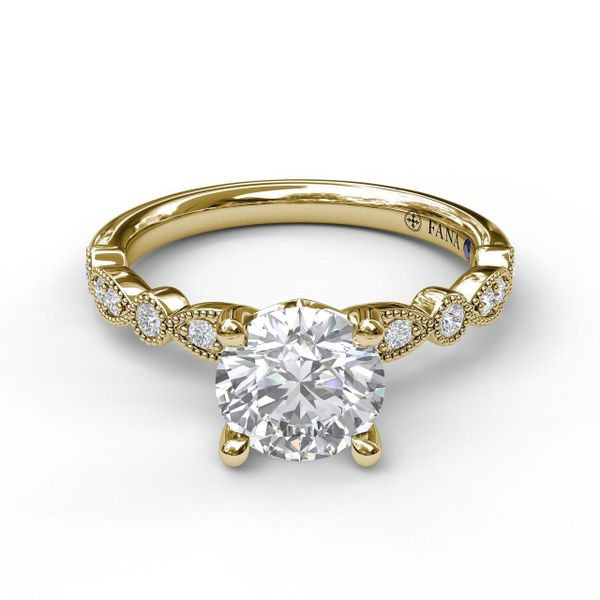 Yellow Gold Vintage Inspired Engagement Ring with Matching Band Available