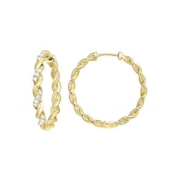 10 kt Yellow Gold Diamond Hoop Earrings