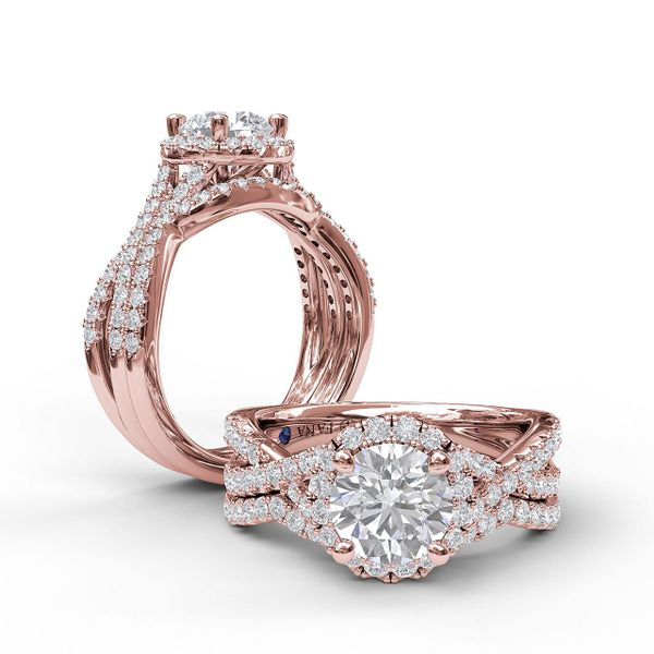 14 kt Rose Gold Round Halo Twist Band Engagement Ring
