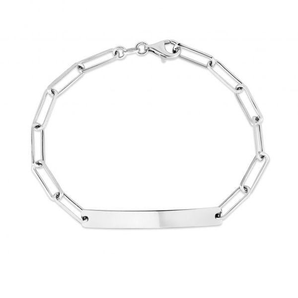 Sterling Silver Paper Clip Bracelet With Engravable ID Bar