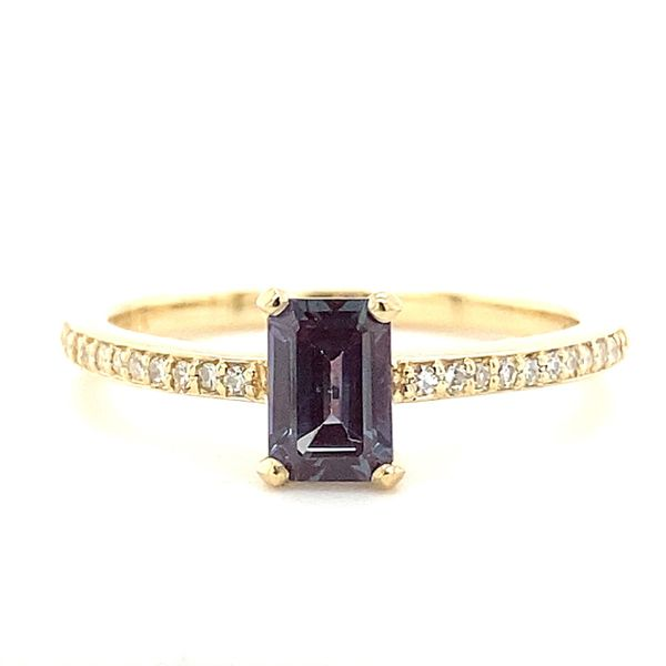 14 kt Yellow Gold Lab Created Alexandrite and Diamond Ring