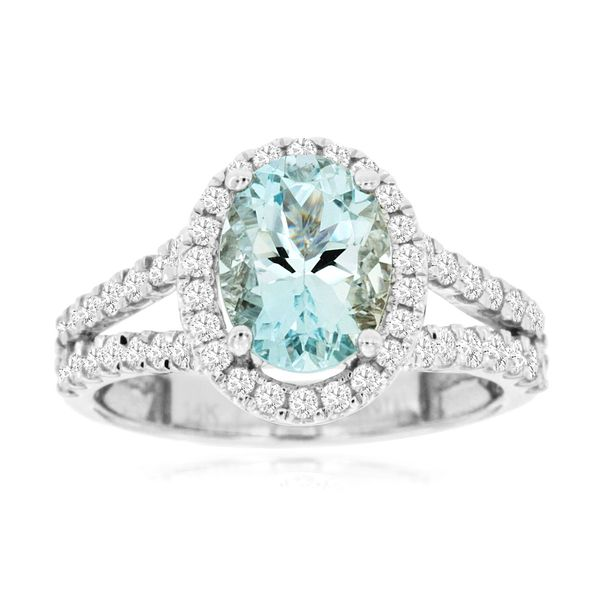 14 kt White Gold Halo Aquamarine Ring with a Split Shank
