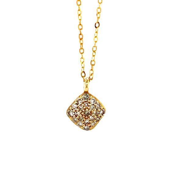 14 kt Yellow Gold Cushion Shaped Cluster Necklace