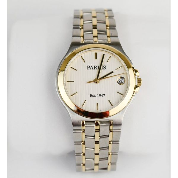 Unisex stainless steel two-tone watch , 34 mm dial