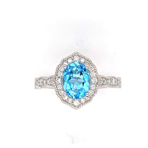 14 kt White Gold Blue Topaz and Diamond Ring