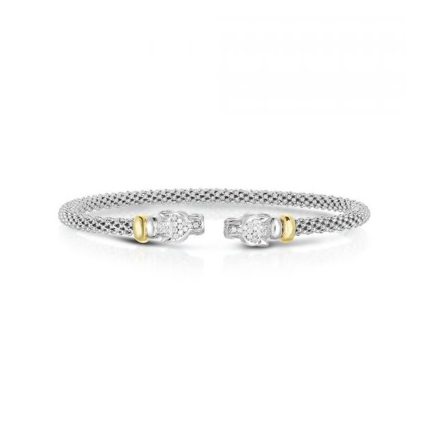Sterling Silver Panther Cuff Bangle with 18 kt Yellow Gold Accents and Diamonds