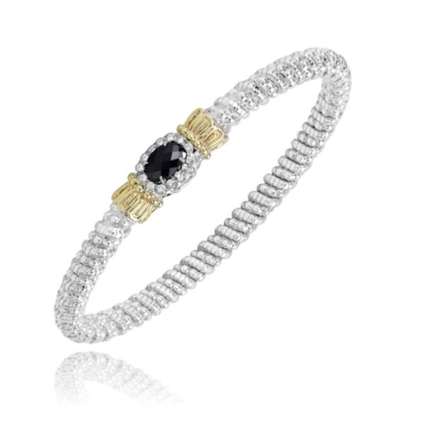 14K Yellow Gold and Sterling Vahan Bracelet with black onyx