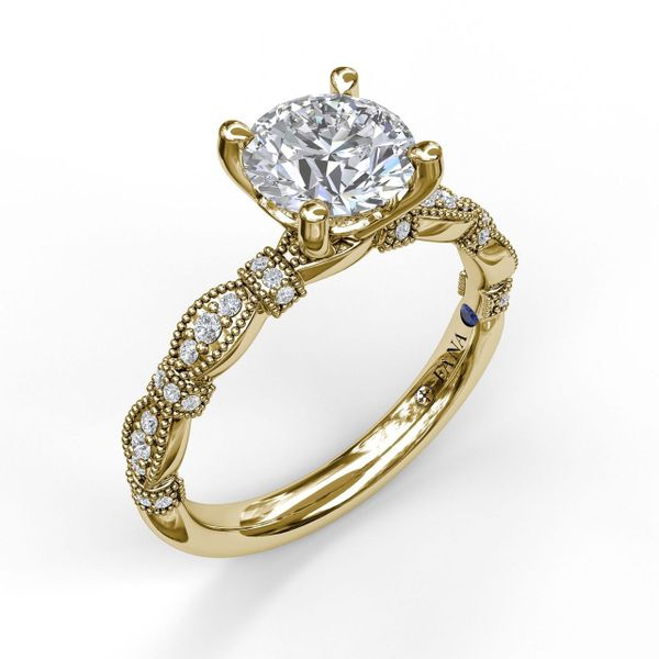 Yellow Gold   Classic Diamond Engagement Ring with Detailed Milgrain Band