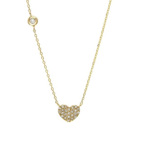 14 kt Yellow Gold Heart Necklace with Diamonds