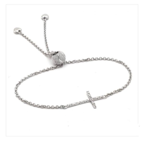 Sterling Silver Adjustable bolo cross bracelet