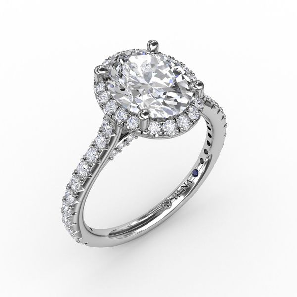 White Gold Oval Halo Engagement Ring