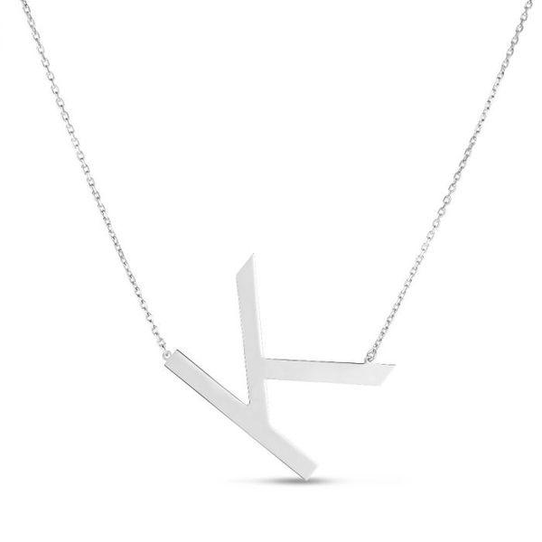 Silver K Letter Necklace
