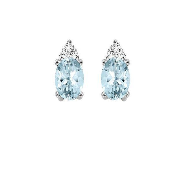 10 kt White Gold Aquamarine and Diamond Earrings