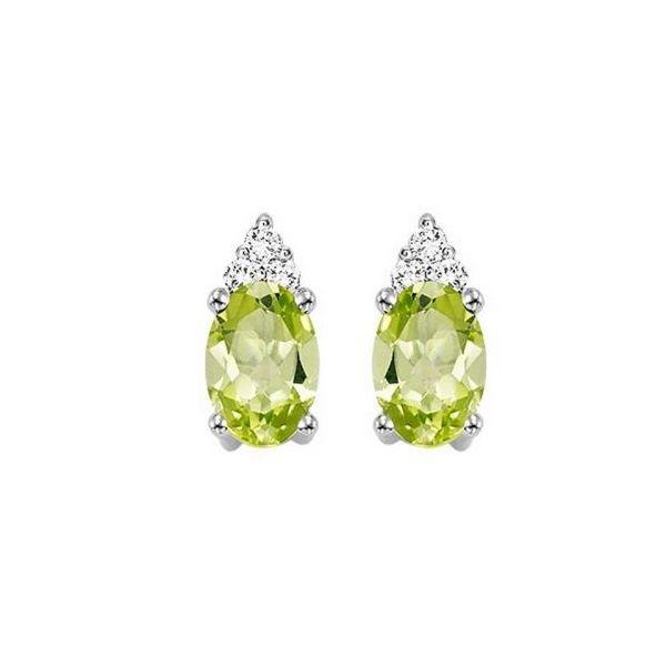 10 kt White Gold Peridot and Diamond Earrings
