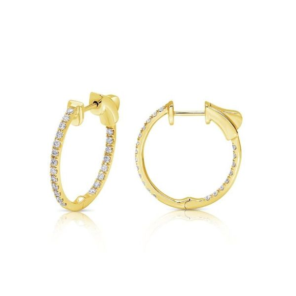 14K Yellow Gold In and Out Diamond Hoops