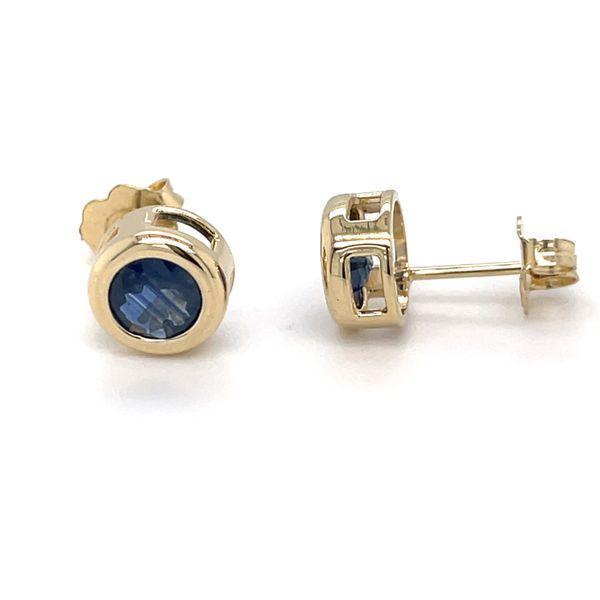 14 kt Yellow Gold Bezel Set Sapphire Earrings