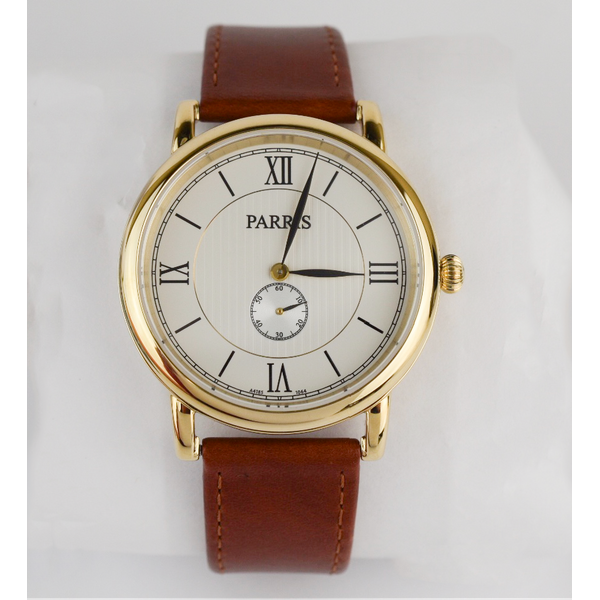 Men's watch with brown leather strap