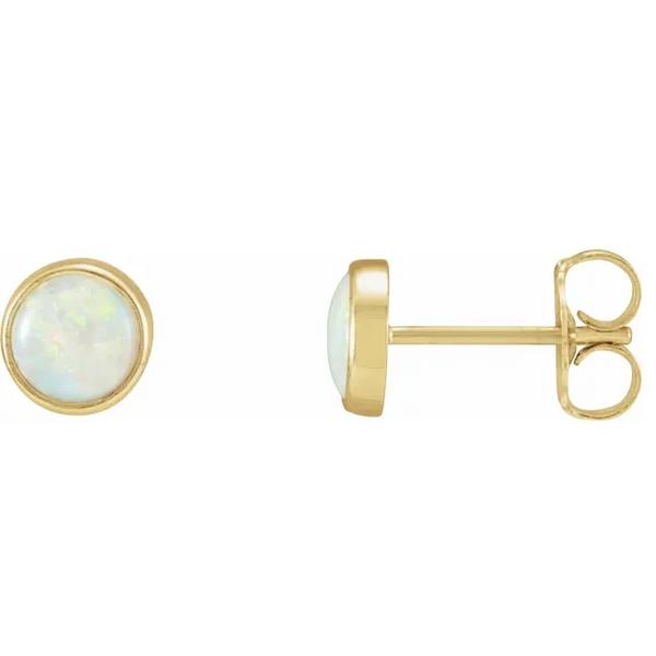 14K Yellow Gold Opal Studs