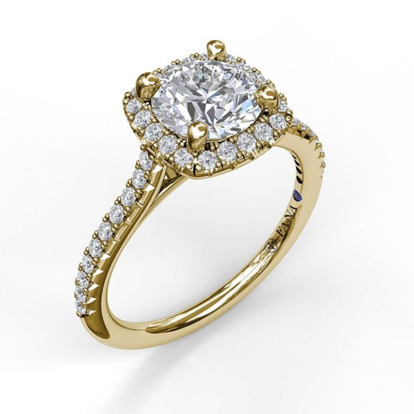 Yellow Gold Delicate Cushion Halo Engagement Ring With Pave Shank