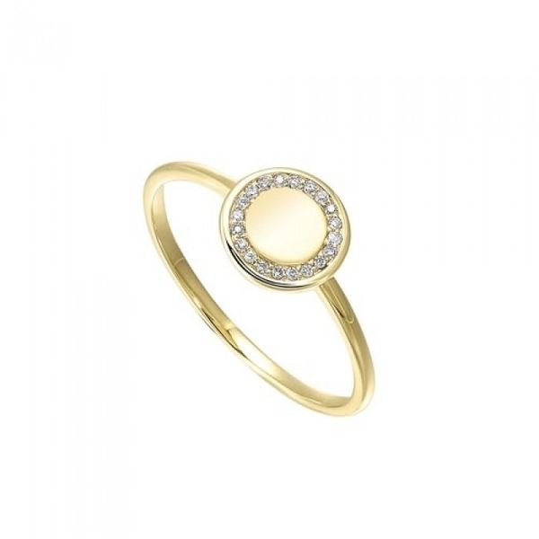 10 Kt Yellow Gold Engravable Ring with Diamond Accents