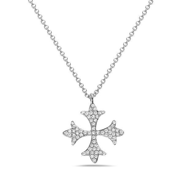 14 kt White Gold Diamond Cross