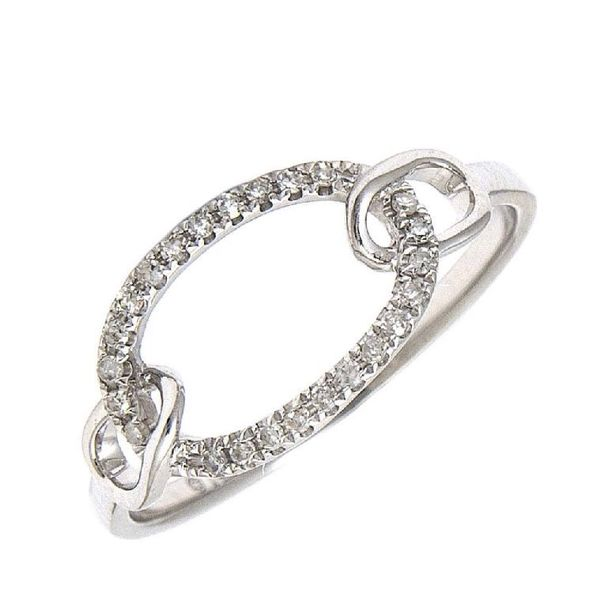 14 kt white gold and diamond fashion ring