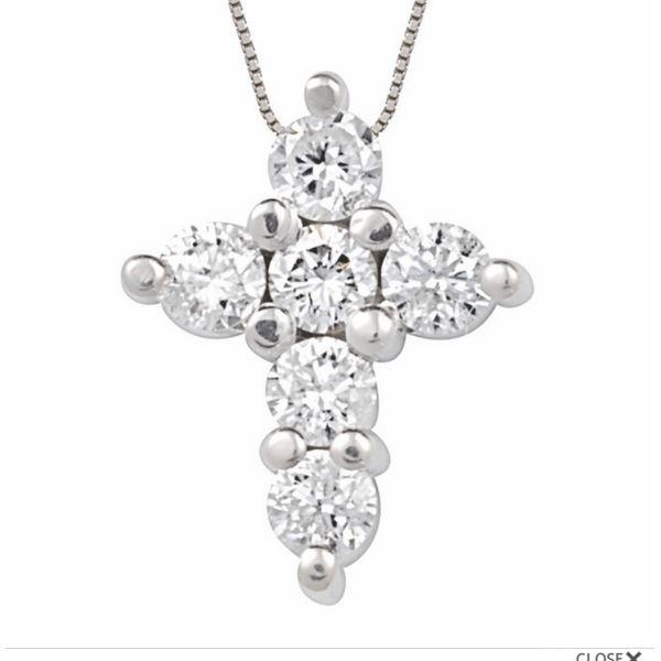 14 kt White Gold Diamond Cross Pendant