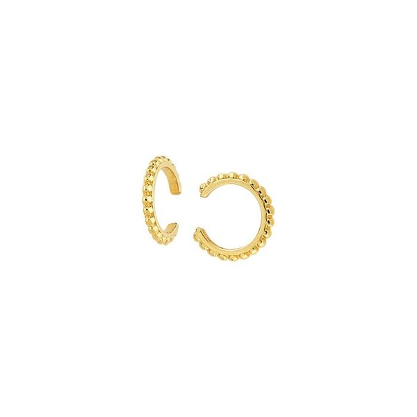 14K Yellow Gold Beaded Ear Cuffs