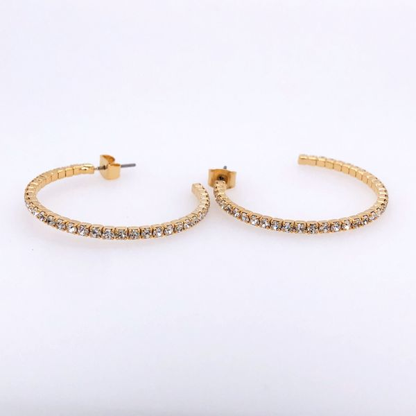30 mm White Rhodium Plated Yellow Hoop Earrings w Crystals