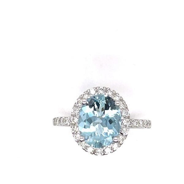 14 kt White Gold Aquamarine and Diamond Ring