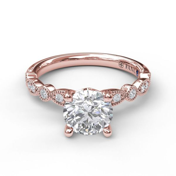 Rose  Gold Vintage Inspired Engagement Ring with Matching Band Available