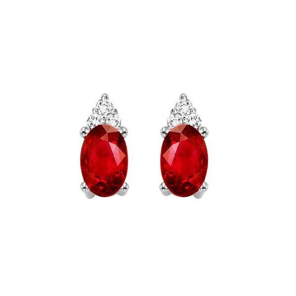 10 kt White Gold Garnet and Diamond Earring