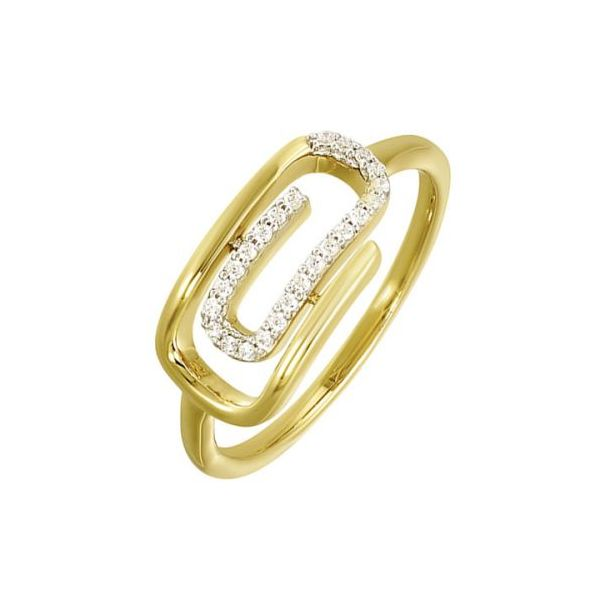 10 kt Yellow Gold Diamond Paperclip Ring