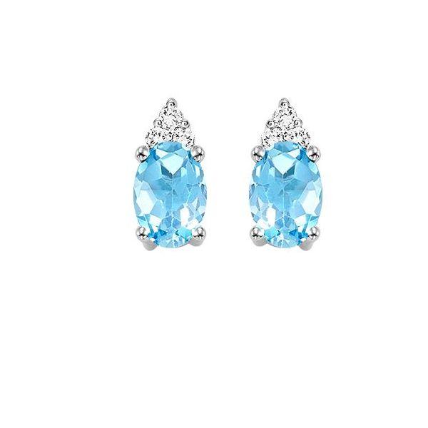 10 kt White Gold Blue Topaz and Diamond Earrings