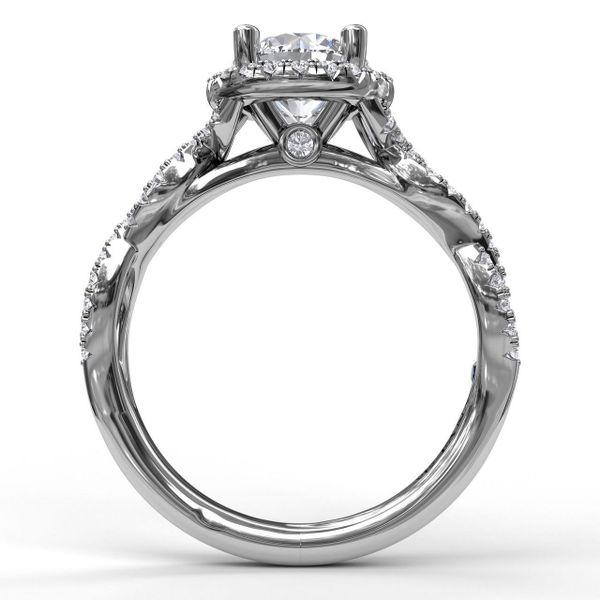 White Gold Round Halo Twist Engagement Ring