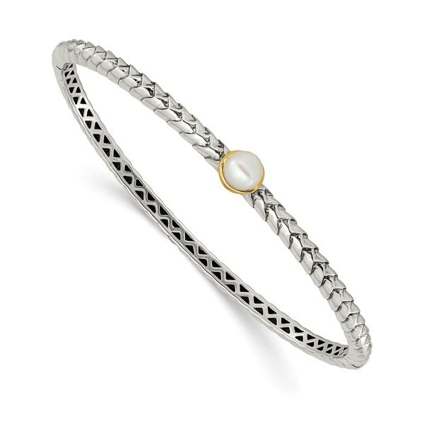 Sterling Silver and 14 kt Yellow Gold Pearl Bracelet